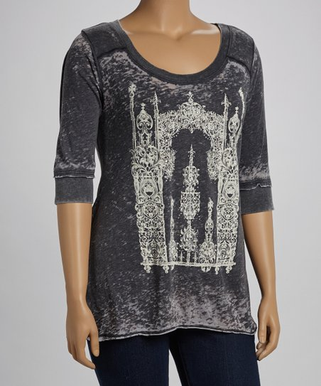 Charcoal Chandelier Burnout Top - Plus