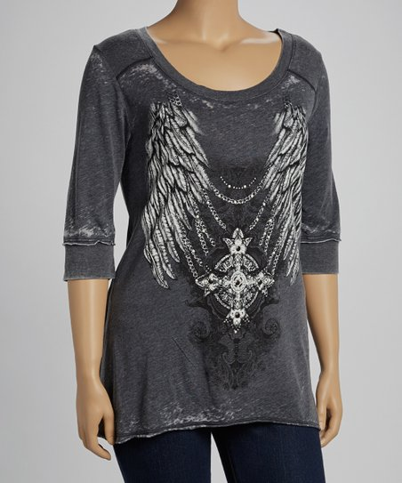 Charcoal Wings Burnout Top - Plus