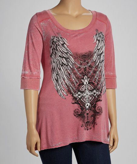 Cherry Wings Burnout Top - Plus