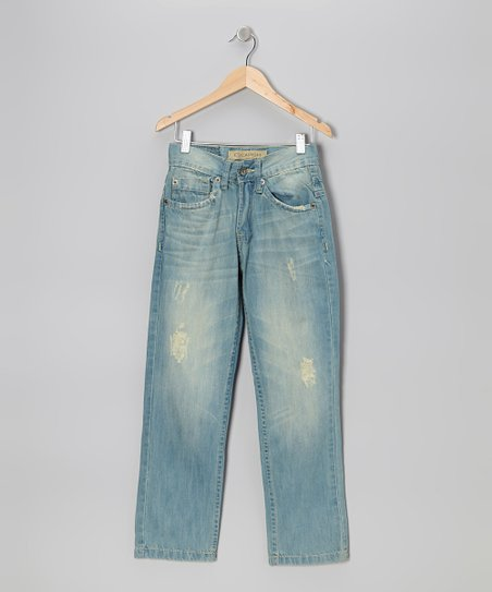 Light Blue Wash Distressed Jeans - Boys