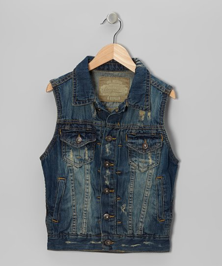 Medium Blue Wash Distressed Denim Vest - Boys