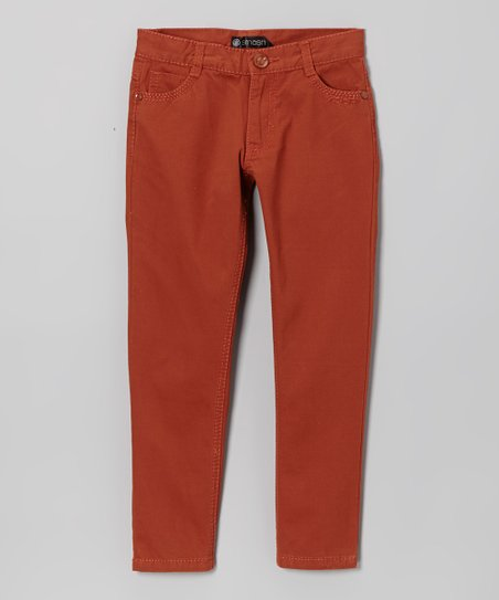 Burgundy Straight-Leg Pants