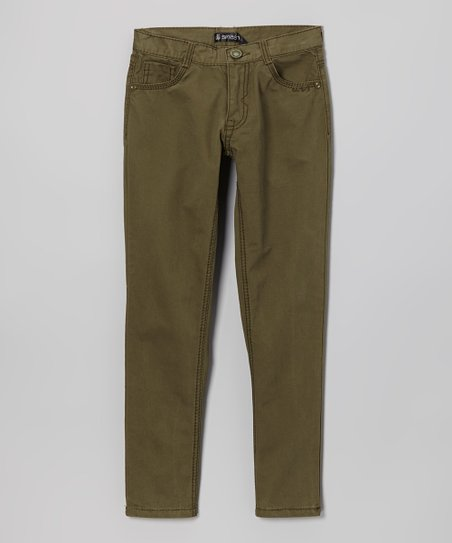 Army Green Straight-Leg Pants