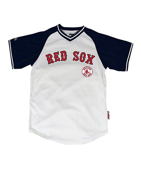 White & Navy Boston Red Sox Jersey - Boys