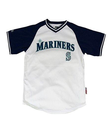 White & Navy Seattle Mariners Jersey - Boys
