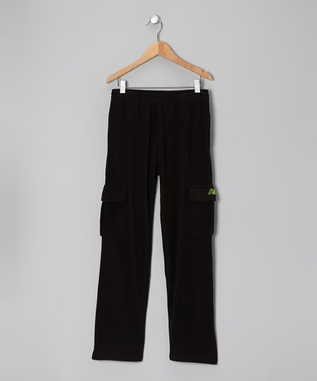 Black & Lime Cargo Warm-Up Pants - Toddler & Boys