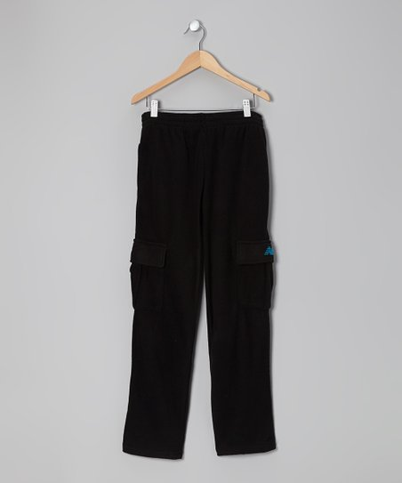 Black & Turquoise Cargo Warm-Up Pants - Toddler & Boys