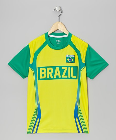 Yellow 'Brazil' Soccer Tee - Boys