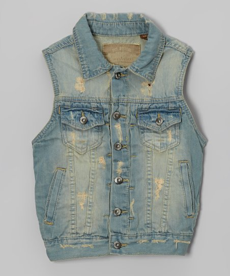 Blue Faded Denim Vest - Boys