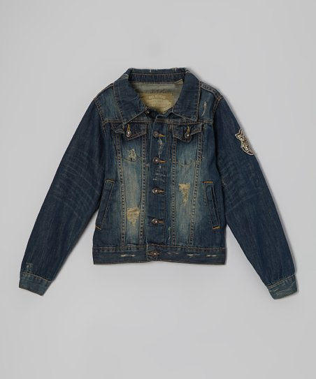 Medium Blue Wash Distressed Denim Jacket - Boys