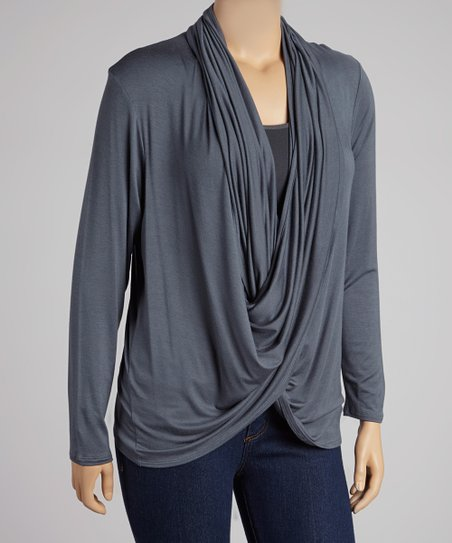 Dark Gray Drape Top - Plus