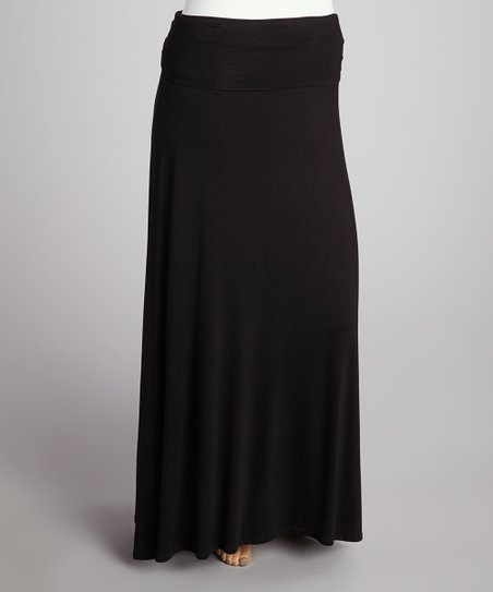 Black Roll-Top Maxi Skirt - Plus