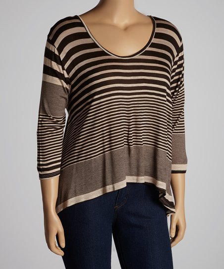 Chocolate Stripe Three-Quarter Sleeve Hi-Low Top - Plus
