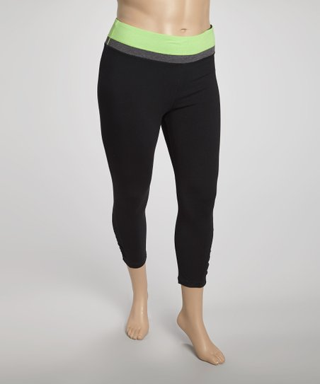 Lime Tricolor Yoga Capri Pants - Plus