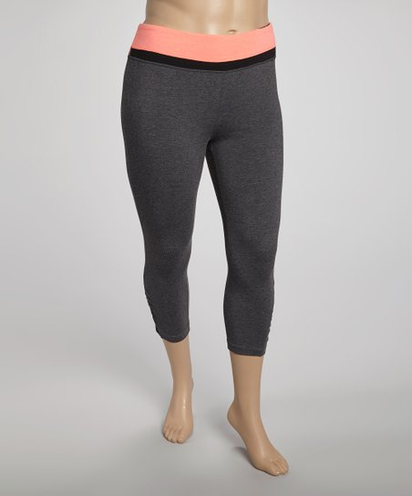 Orange Tricolor Yoga Capri Pants - Plus