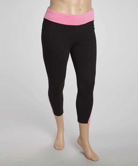 Hot Pink Color Block Yoga Capri Pants - Plus