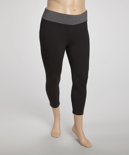 Charcoal Color Block Yoga Capri Pants - Plus