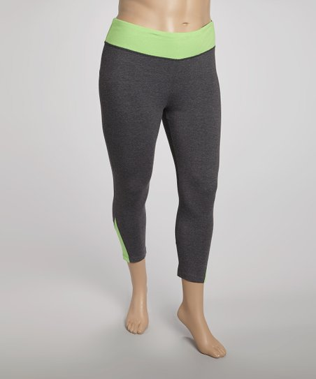 Lime Color Block Yoga Capri Pants - Plus