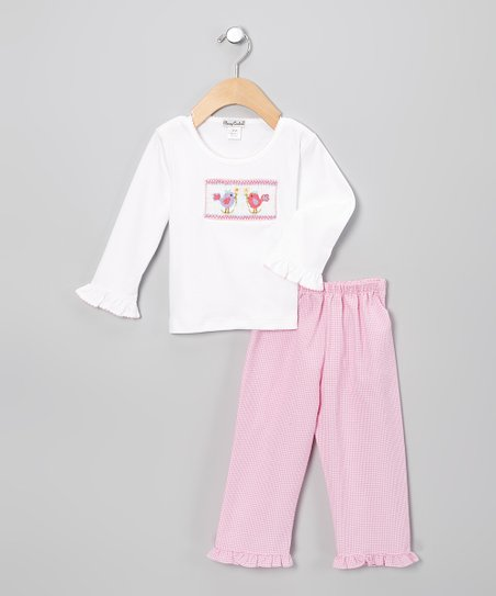 White & Pink Bird Pants & Tee - Infant & Toddler