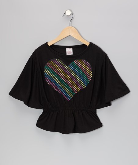 Black Heart Cape-Sleeve Top - Girls
