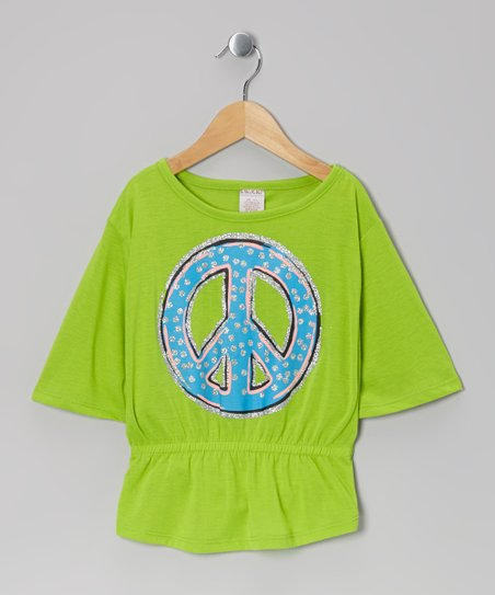Green Peace Sign Cape-Sleeve Top - Girls