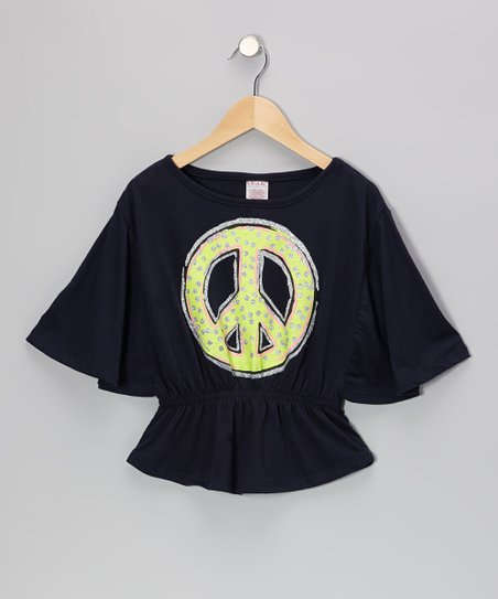 Black Peace Sign Cape-Sleeve Top - Girls