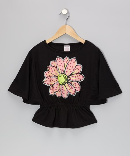 Black Bloom Cape-Sleeve Top - Girls