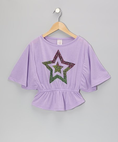 Purple Star Cape-Sleeve Top - Girls