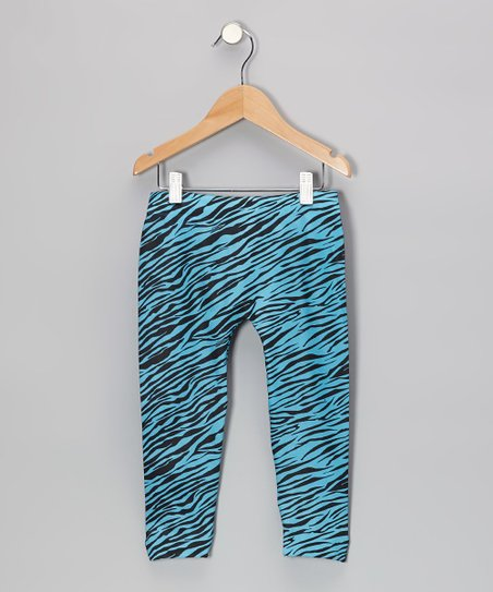 Turquoise Zebra Leggings - Girls
