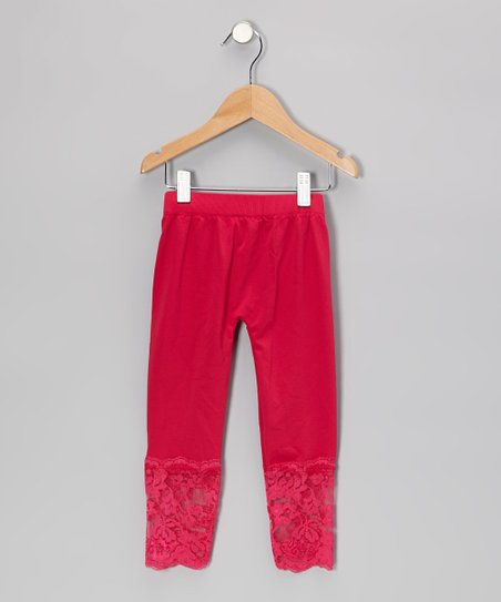 Fuchsia Lace-Bottom Leggings - Girls