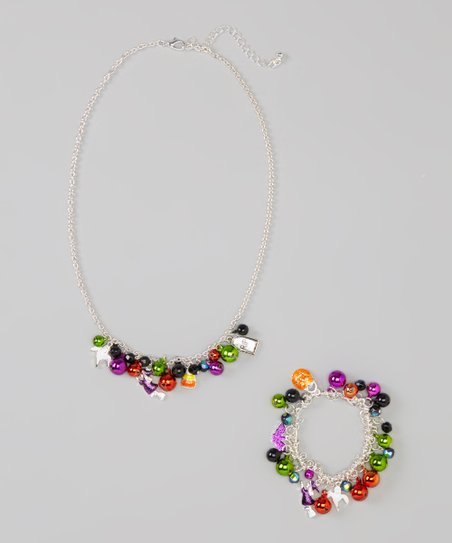 Green & Orange Jingle Charm Necklace & Stretch Bracelet