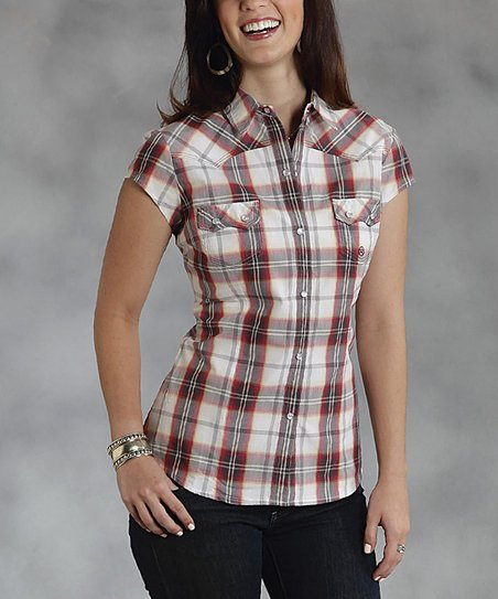 Red Amarillo Plaid Short-Sleeve Button-Up - Women & Plus