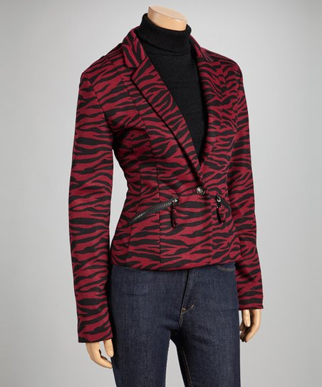 Burgundy Zebra Pocketed Blazer
