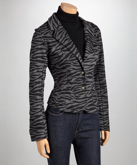 Charcoal Zebra Pocketed Blazer