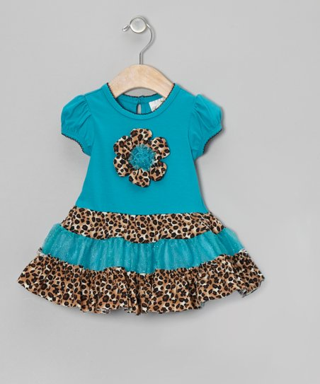 Turquoise Leopard Flower Dress - Infant, Toddler & Girls