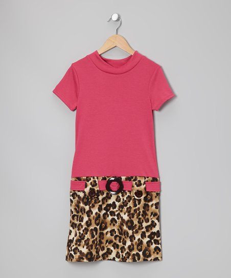 Fuchsia Leopard Dress - Girls
