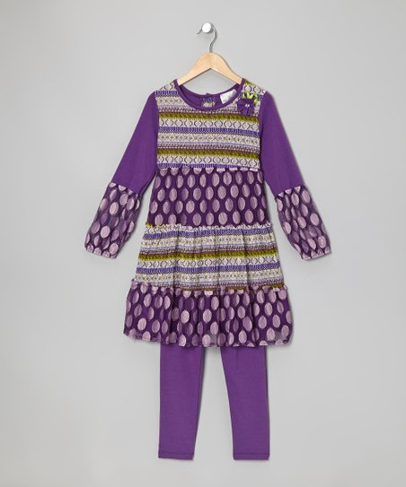 Purple Polka Dot Tunic & Leggings - Infant & Girls