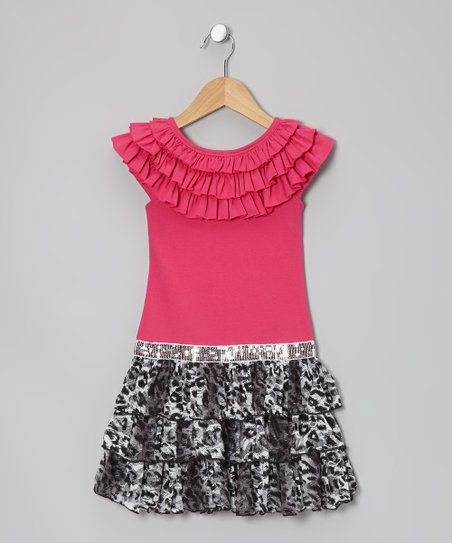 Fuchsia Cheetah Drop-Waist Dress - Girls