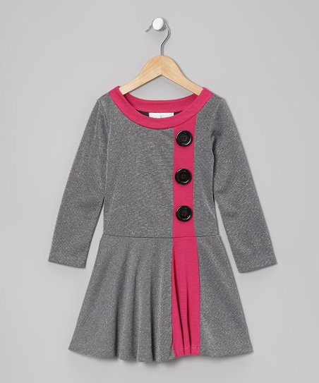 Silver & Fuchsia Color Block Dress - Girls