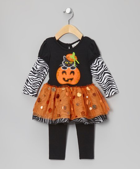 Black & Orange Pumpkin Tunic & Leggings - Infant