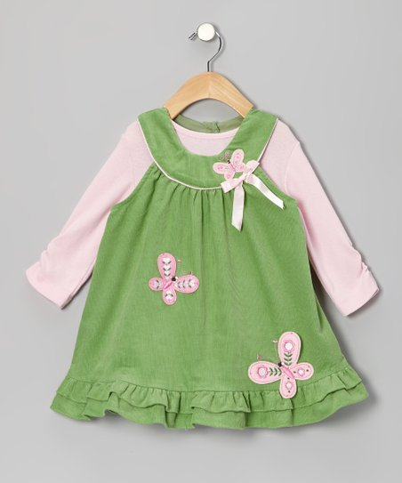 Sage & Pink Butterfly Bodysuit & Jumper - Girls
