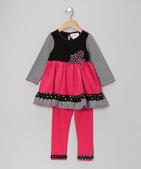 Black & Fuchsia Stripe Butterfly Tunic & Leggings - Toddler