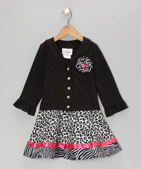Black & Fuchsia Zebra Leopard Cardigan & Dress- Girls