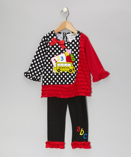 Black & Red School Bus Tunic & Leggings - Infant & Girls