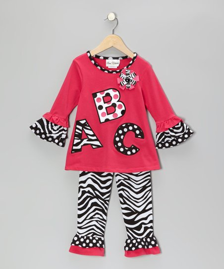 Fuchsia & Black 'ABC' Tunic & Zebra Leggings - Infant & Girls