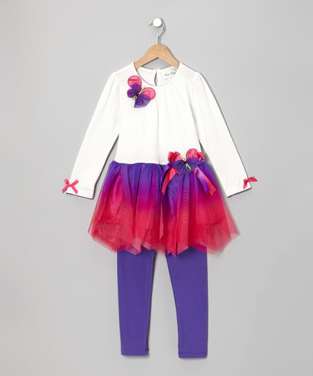 Ivory Butterfly Tunic & Purple Leggings - Toddler & Girls