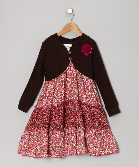 Brown & Fuchsia Floral Cardigan Dress - Girls