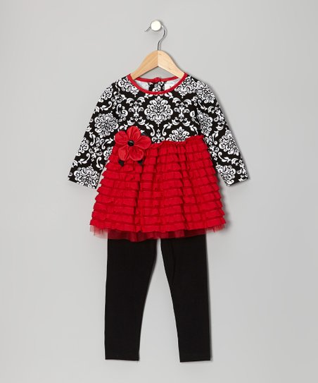 Red & Black Eyelash Tunic & Leggings - Infant