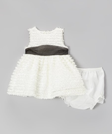 White Satin Rose Soutach Dress - Infant