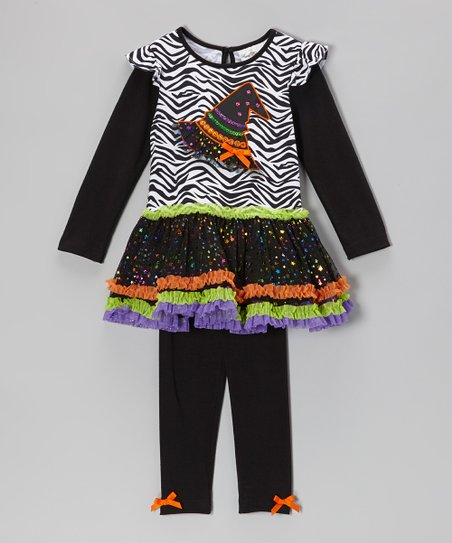 Black Zebra Witch Hat Tunic & Leggings - Infant, Toddler & Girls